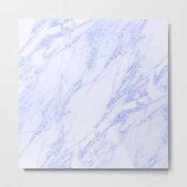 Blue Marble - Shimmery Glittery Cornflower Sky Blue Marble Metallic Metal Print