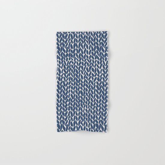 Hand Knit Navy Hand & Bath Towel