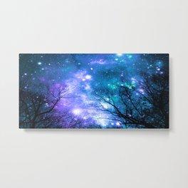 Black Trees Violet Teal Space Metal Print