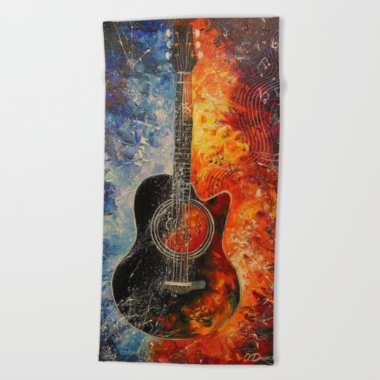 The rhythms of the guitar Beach Towel