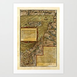 Map Of The Holy Land 1544 Art Print