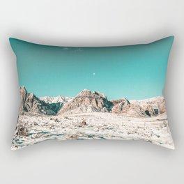 Vintage Picture Desert Snow // Winter Teal Blue Sky Red Rock Canyon Wilderness Park Photograph Rectangular Pillow