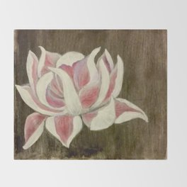 White and Pink Lotus Throw Blanket