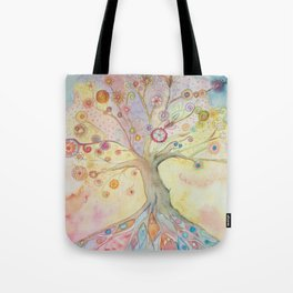 Whimsical tree of life with pastel colors Tote Bag