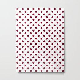 Small Polka Dots - Burgundy Red on White Metal Print