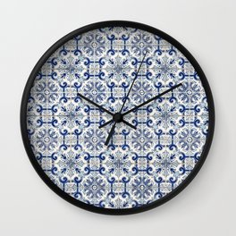 Portuguese tiles pattern blue Wall Clock