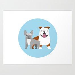 Bulldog love Art Print