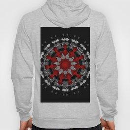 Bright Red Silver Star Flower Mandala Hoody
