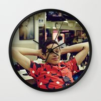 snl Wall Clocks featuring Chill by F*** Me Pete Davidson