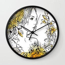 nature flower woman Wall Clock