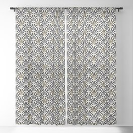 Art Deco Fan Pattern, Black and White Sheer Curtain