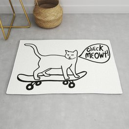 Check MEOWT! Skateboarding Cat Black White Rug