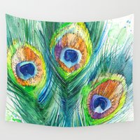 peacock feather Wall Tapestries featuring Peacock feather  by Slaveika Aladjova