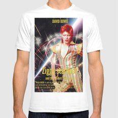 David Bowie - Ziggy stardust MEDIUM White Mens Fitted Tee