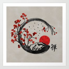 Zen Enso Circle and Sakura Branches Art Print