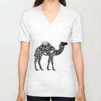 camel V-neck T-shirts featuring Camel by Sophie H.