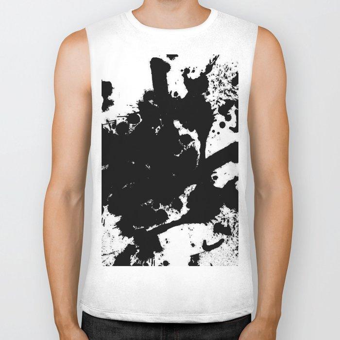 Black and white splat - Abstract, black paint splatter painting Biker Tank