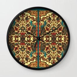 peacock in persian tile paradise Wall Clock