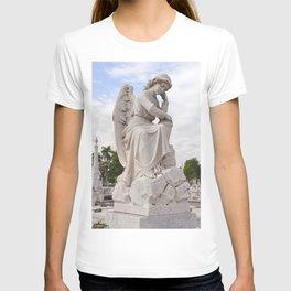 Necropolis Graveyard Statue Angel Marble Cuba Island Carving Art Icon Christian Saint Holy God Cemet T-shirt