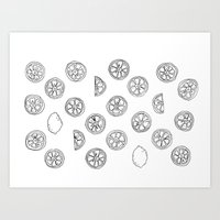 Citrus Black and White Art Print