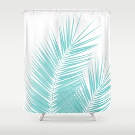 Soft Turquoise Palm Leaves Dream - Cali Summer Vibes #1 #tropical #decor #art #society6 Shower Curtain
