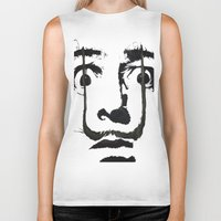 grand theft auto Biker Tanks featuring I am drugs ( Salvador Dali ) by Black Neon