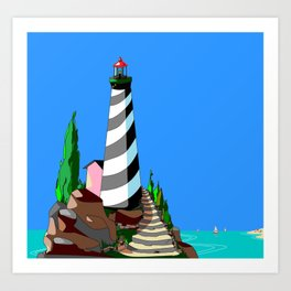 A Lighthouse over looks the Rocky Cove and Beach Art Print