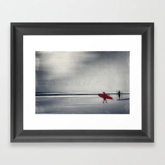 red surf board Framed Art Print