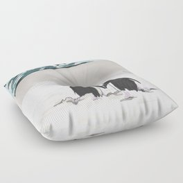 Penguins in love Floor Pillow
