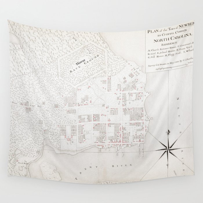 Vintage Map Of New Bern Nc 1769 Wall Tapestry By Bravuramedia