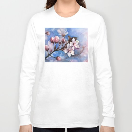 Cherry Blossoms Watercolor Spring Flowers Long Sleeve T-shirt