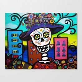 Mexican Dia de los Muertos Catrina Painting Canvas Print