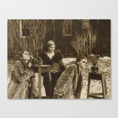 Vintage Black & White Photo of Three Ladies Canvas Print