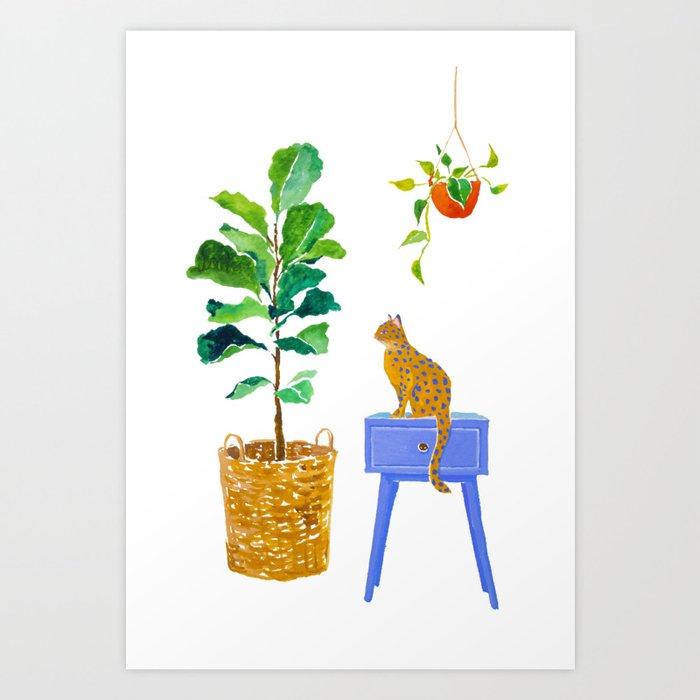Fiddle Leaf Fig and Cat Art Print