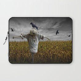 Scarecrow with Black Crows over a Cornfield Laptop Sleeve