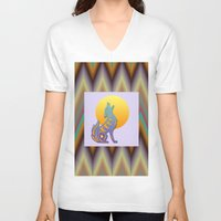 southwest V-neck T-shirts featuring Southwest Chevron and Coyote by naturessol