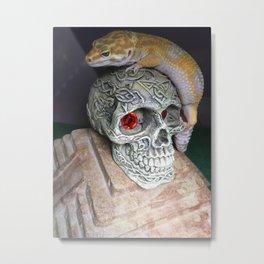 Leopard gecko skull Metal Print