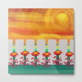 Sunset Marigolds Metal Print