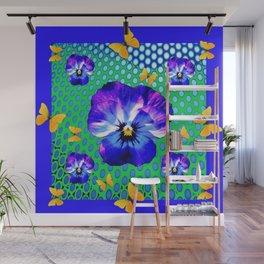 PURPLE SPRING PANSIES GOLDEN BUTTERFLIES BLUE-GREEN ART Wall Mural
