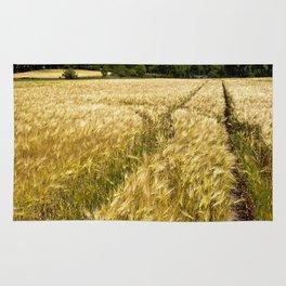 Golden wheat field poetry Rug