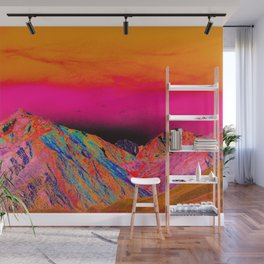 California's Sierra Mts-Digital Art, Pink & Orange Wall Mural