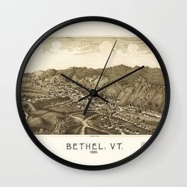 Aerial View of Bethel, Vermont (1886) Wall Clock