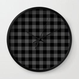 Jumbo Tincup Grey and Black Rustic Cowboy Cabin Buffalo Check Wall Clock