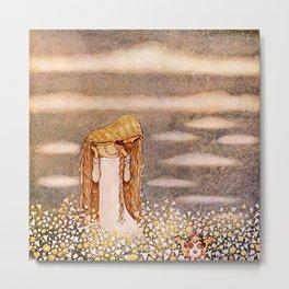 """""""Princess Tuvstarr"""" John Bauer Watercolor Metal Print"""