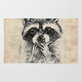 Surprised raccoon Rug