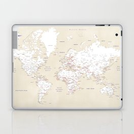 "Cream, white, red and navy blue world map, ""Deuce"" Laptop & iPad Skin"