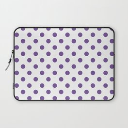 Small Polka Dots - Dark Lavender Violet on White Laptop Sleeve