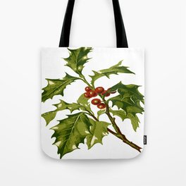 Holly Christmas Red Berry Tote Bag