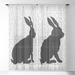 Black Silhouette Sitting Bunny Rabbit Polka Dots on White Sheer Curtain