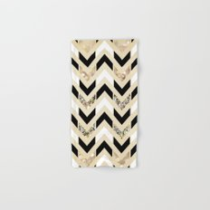 Black, White & Gold Glitter Herringbone Chevron on Nude Cream Hand & Bath Towel